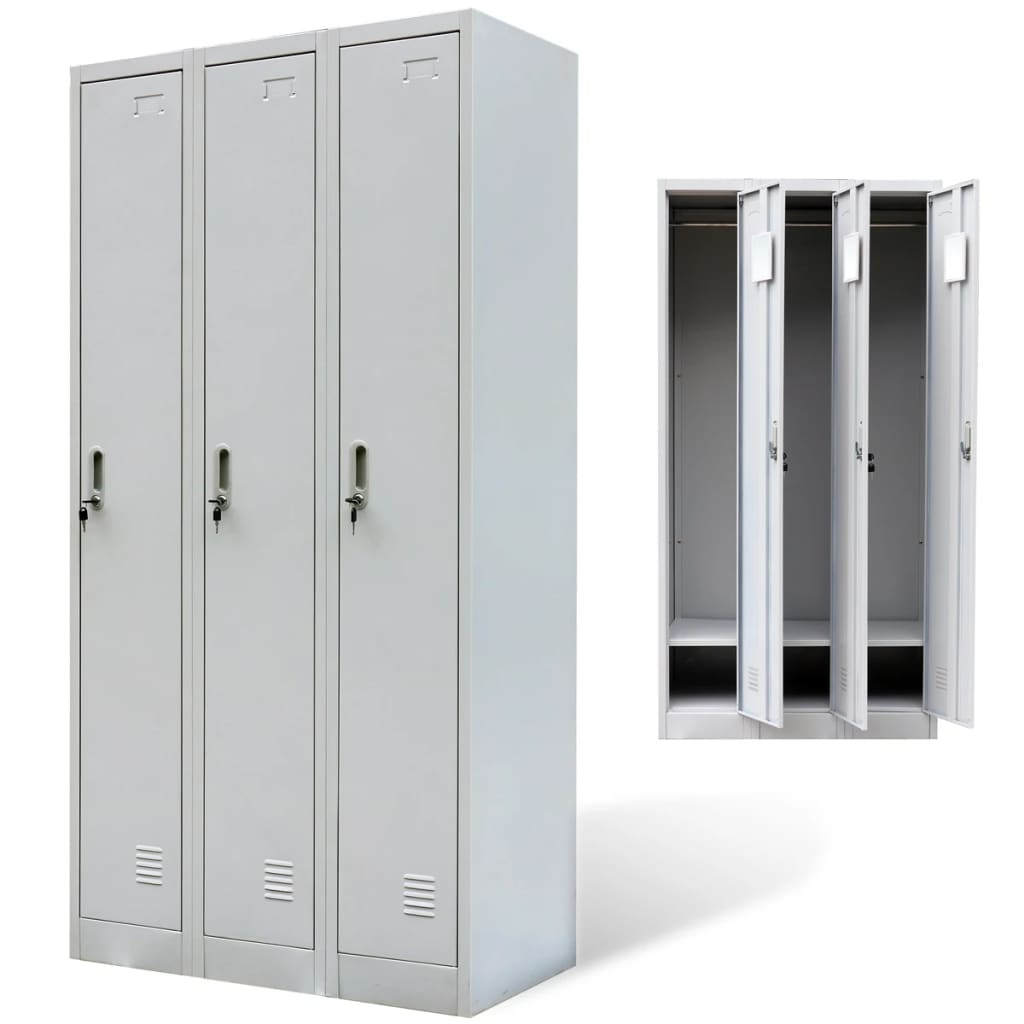 metal locker cabinet 3 doors gray. Black Bedroom Furniture Sets. Home Design Ideas
