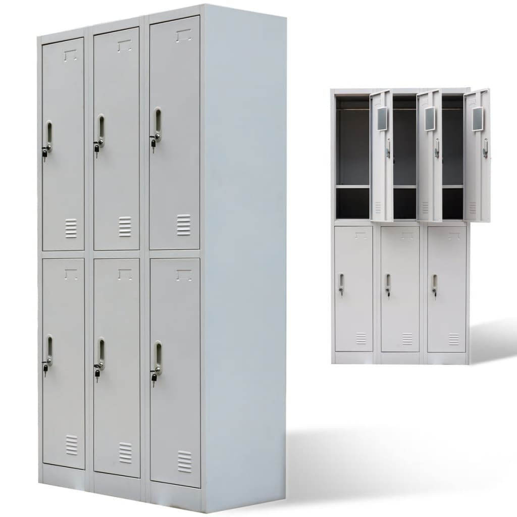 Vidaxl Co Uk Metal Locker Cabinet 6 Doors Grey