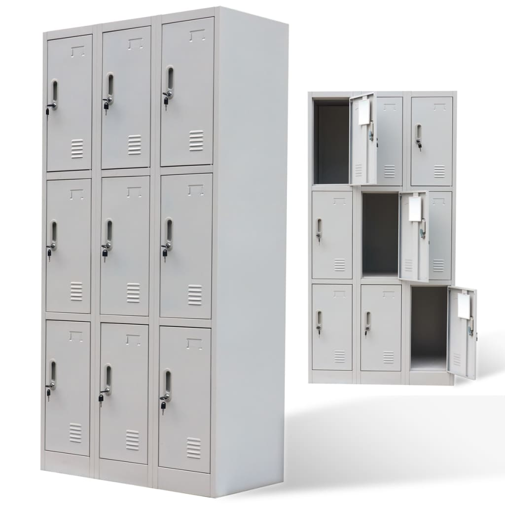Metal locker cabinet 9 doors grey for Meuble porte verrouillable