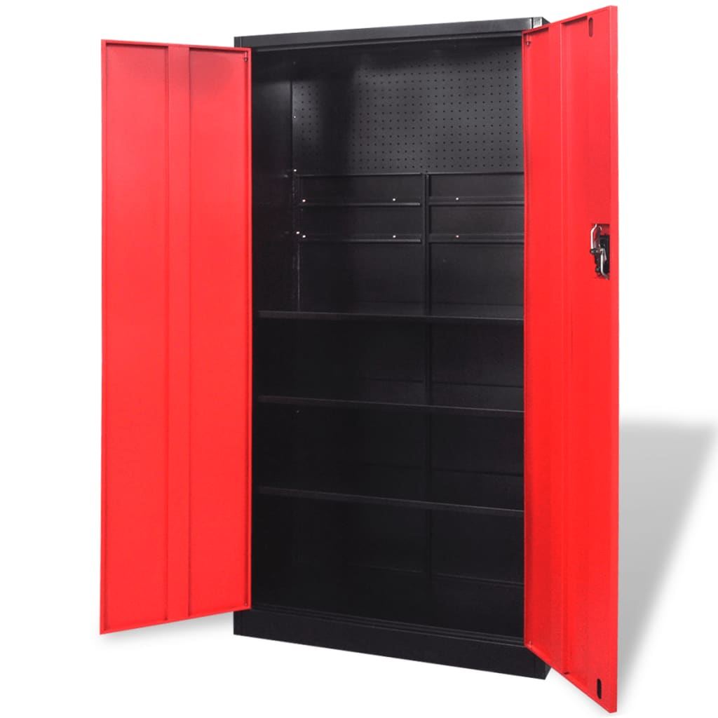 acheter armoire outils en m tal 180 cm noir rouge pas. Black Bedroom Furniture Sets. Home Design Ideas