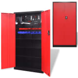 Metal Tool Cabinet 180 cm Black-red