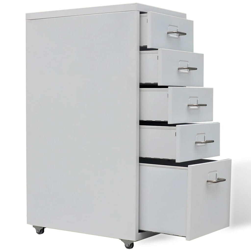 metal filing cabinet with 5 drawers gray47