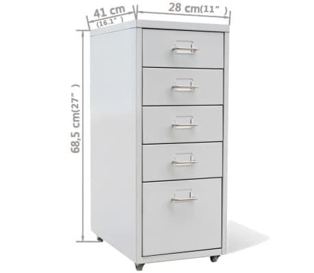 classeur m tallique avec 5 tiroirs gris armoire fichier rangement pour bureau ebay. Black Bedroom Furniture Sets. Home Design Ideas