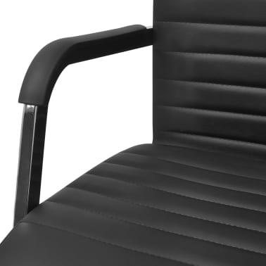 vidaXL Cadeira de escritório em couro artificial 55 x 63 cm, preto[5/6]