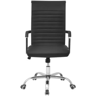 vidaXL Cadeira de escritório em couro artificial 55 x 63 cm, preto[2/6]