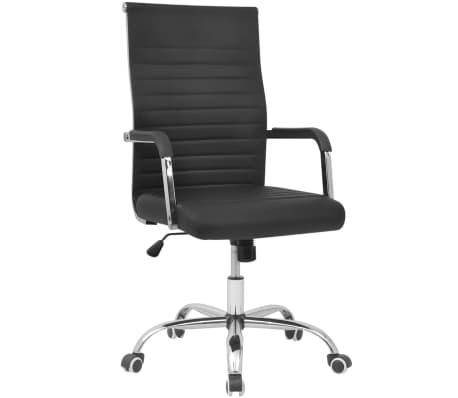 vidaXL Cadeira de escritório em couro artificial 55 x 63 cm, preto