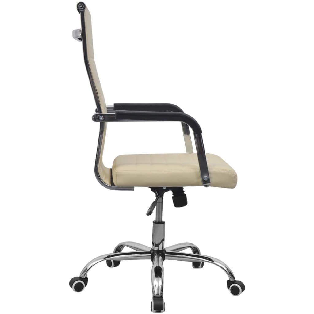acheter vidaxl chaise de bureau en cuir artificiel 55x63 cm cr me pas cher. Black Bedroom Furniture Sets. Home Design Ideas