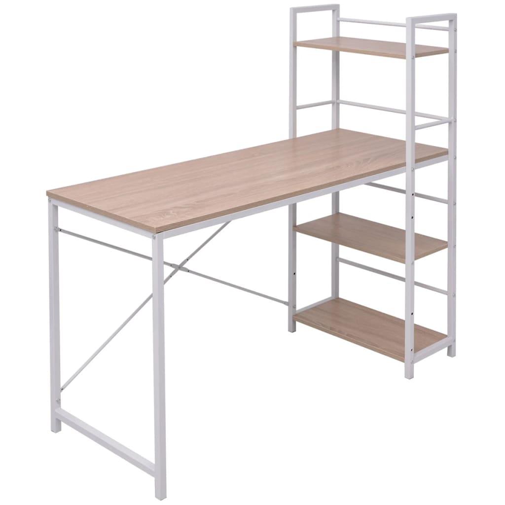 vidaXL tölgy íróasztal 4 szintes könyvespolccal