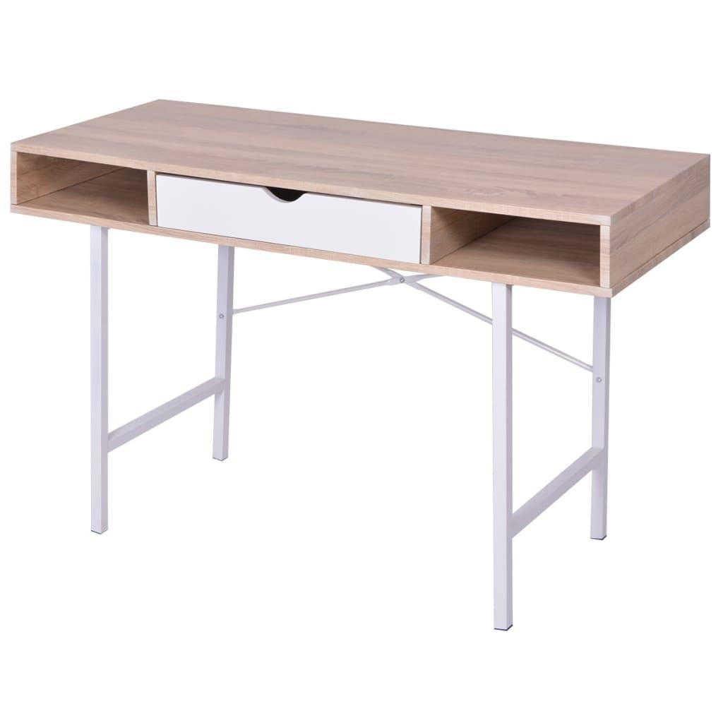 vidaXL íróasztal 1 fiókkal tölgy és fehér