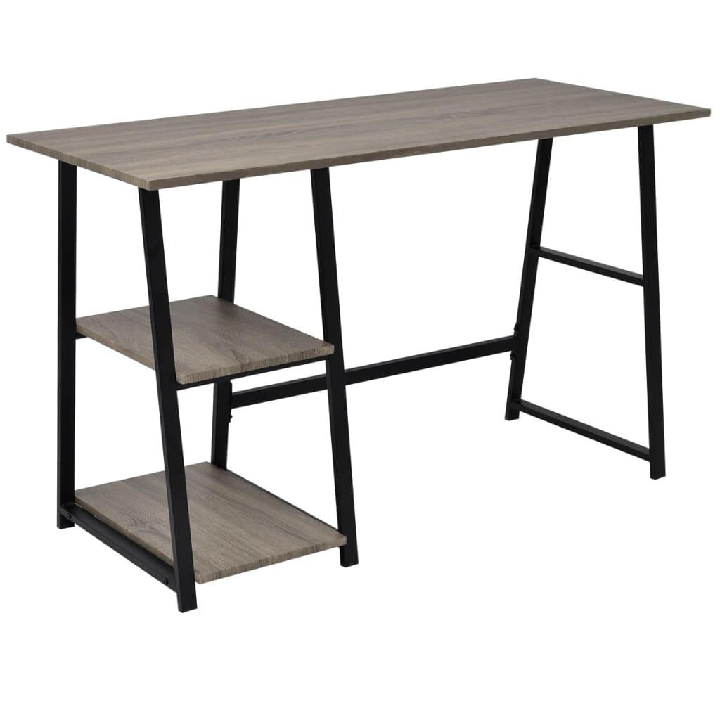 vidaXL íróasztal 2 polccal szürke és tölgy