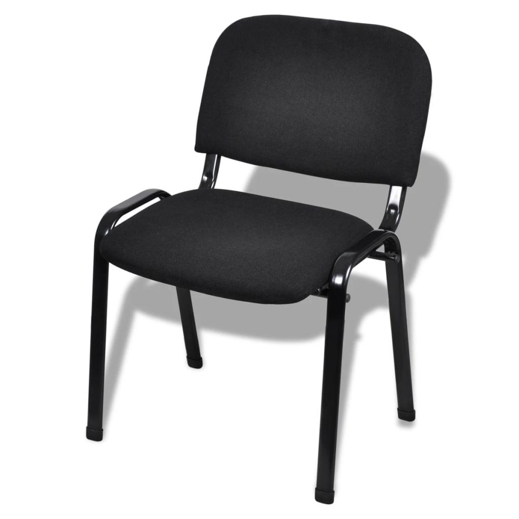 Vidaxl sillas de oficina apilables 4 piezas de tela negra - Sillas negras ...