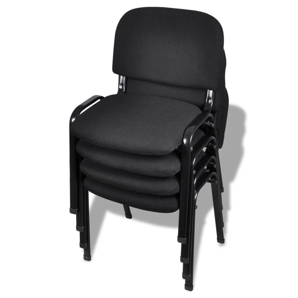 vidaxl sillas de oficina apilables 4 piezas de tela negra