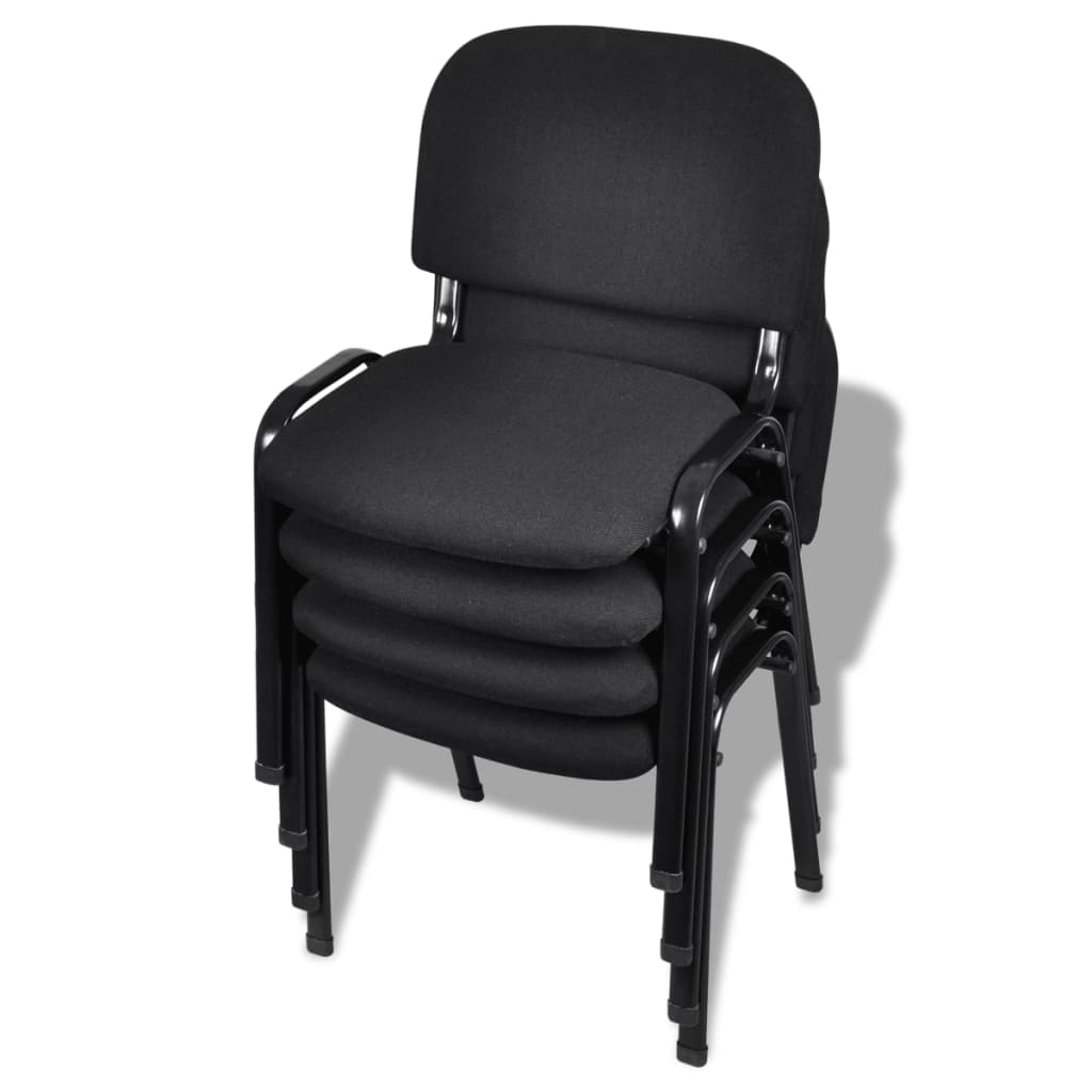 acheter vidaxl chaises de bureau empilables 4 pi ces tissu noir pas cher. Black Bedroom Furniture Sets. Home Design Ideas