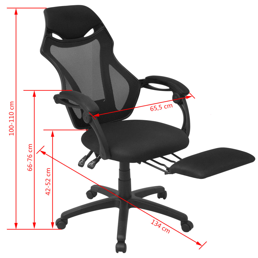 Vidaxl silla de oficina reclinable con reposapi s tela for Silla oficina reclinable