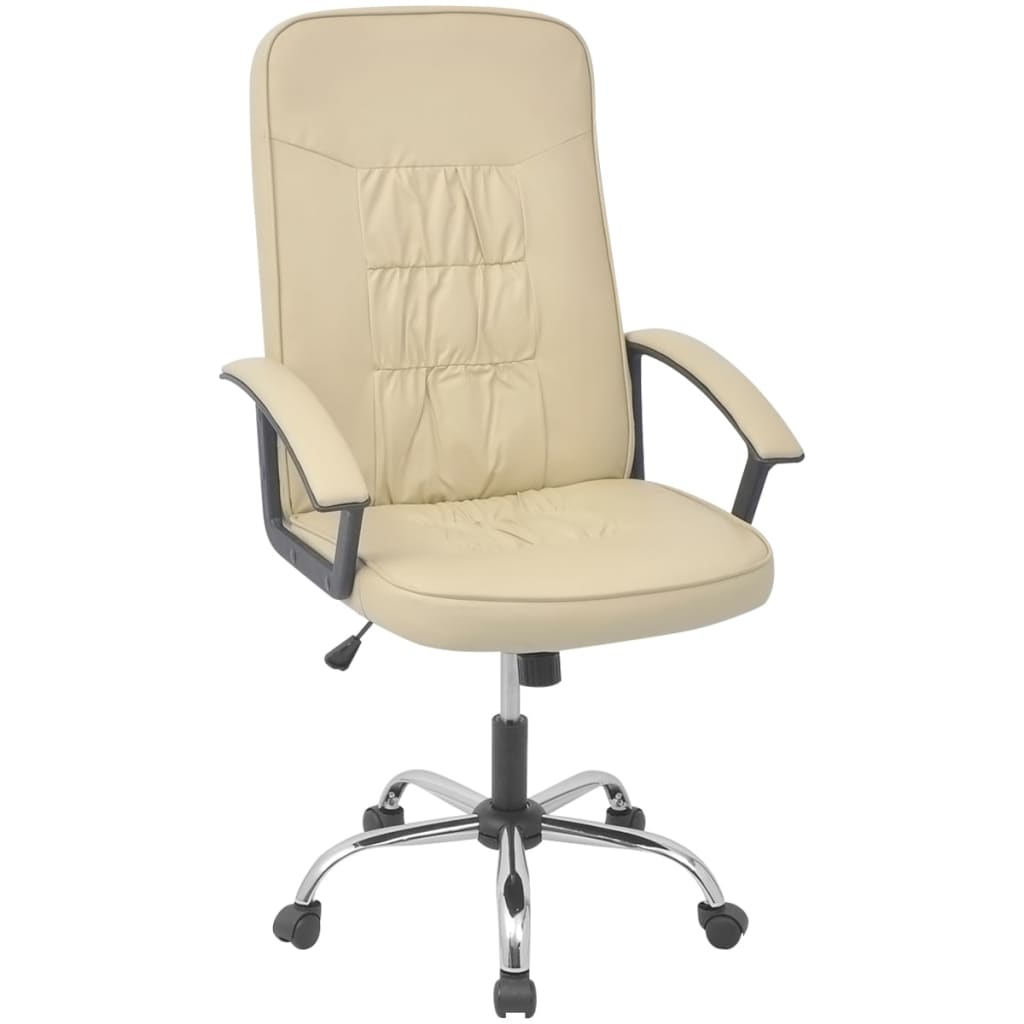 Vidaxl office chair artificial leather 26 4 x27 6 cream for Cream office chair
