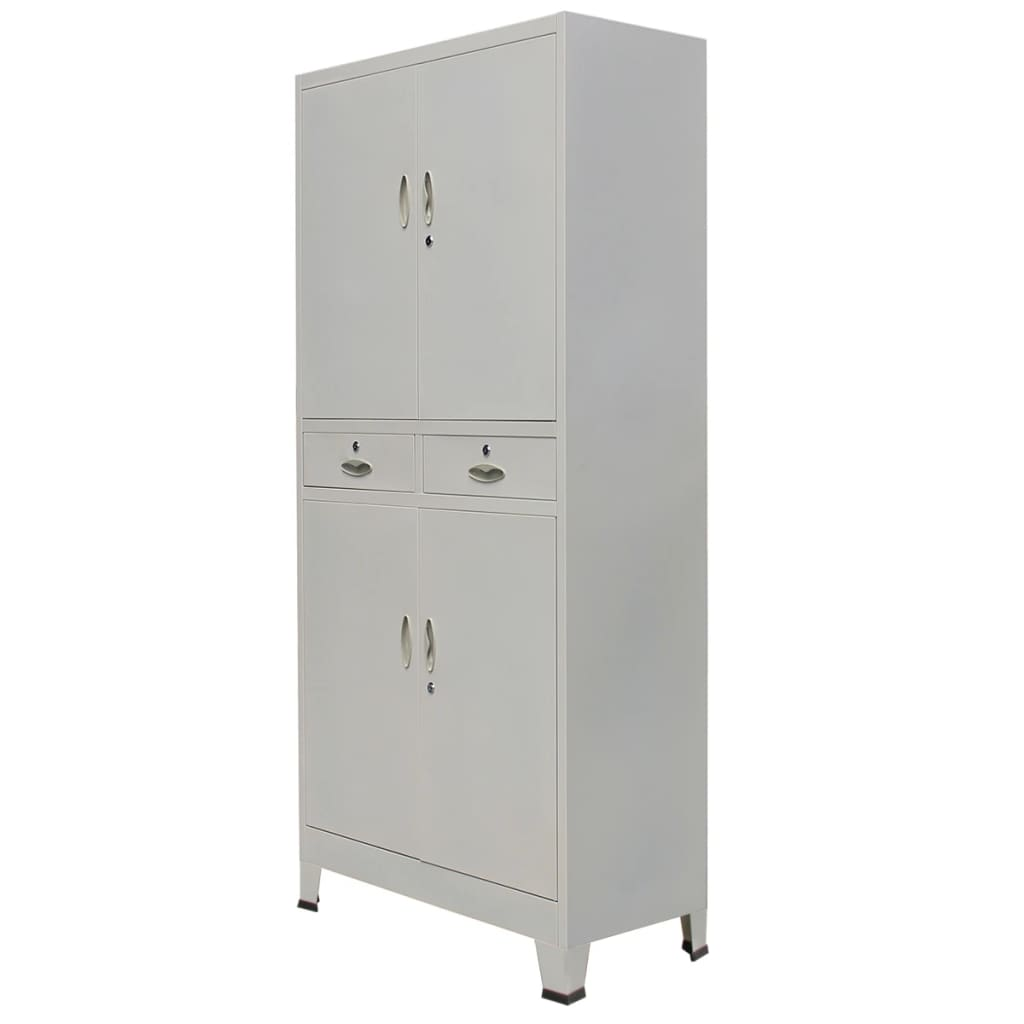 vidaxl armoire de bureau avec 4 portes acier 90 x 40 x 180 cm gris. Black Bedroom Furniture Sets. Home Design Ideas