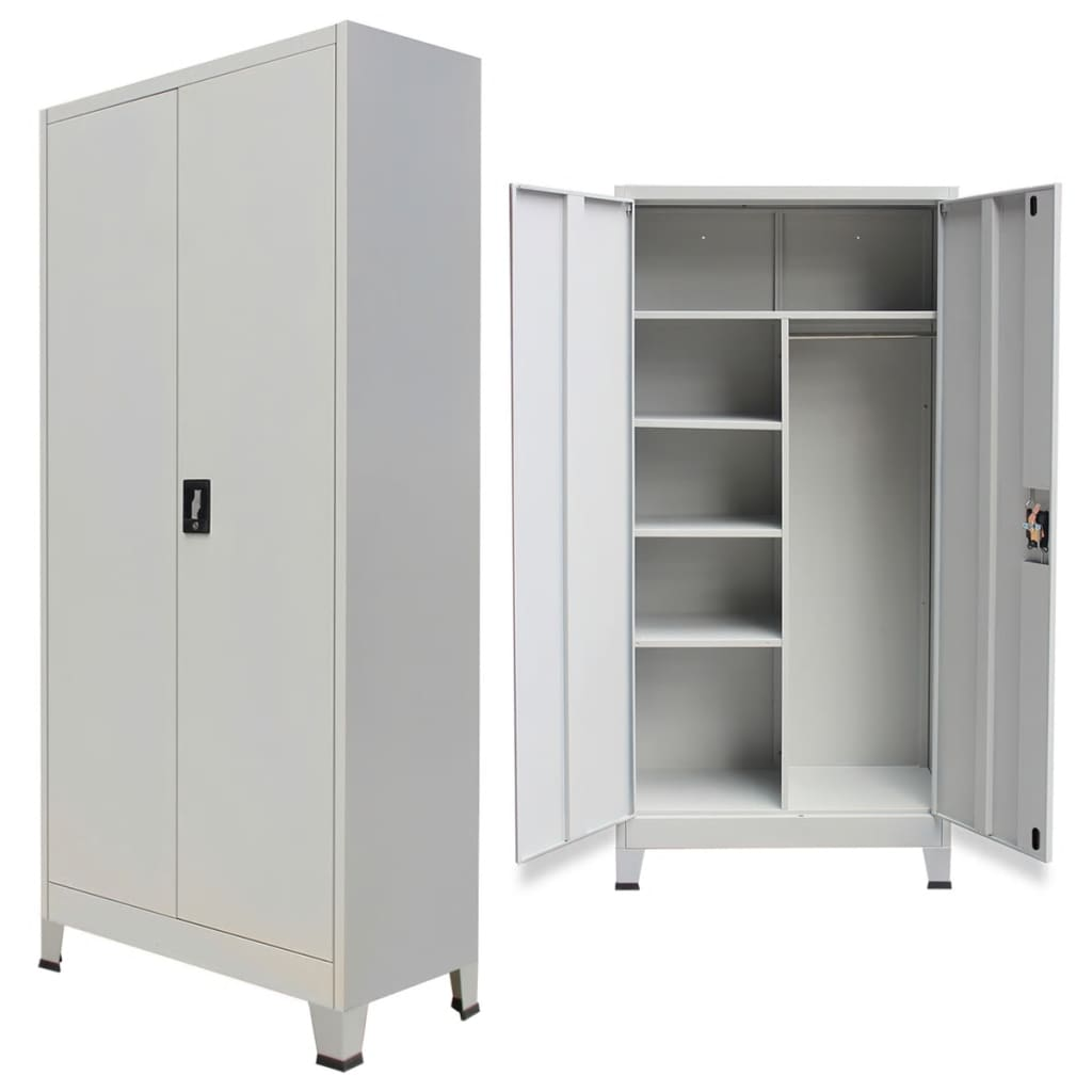 vidaXL szürke 2 ajtós acél öltözőszekrény 90 x 40 180 cm