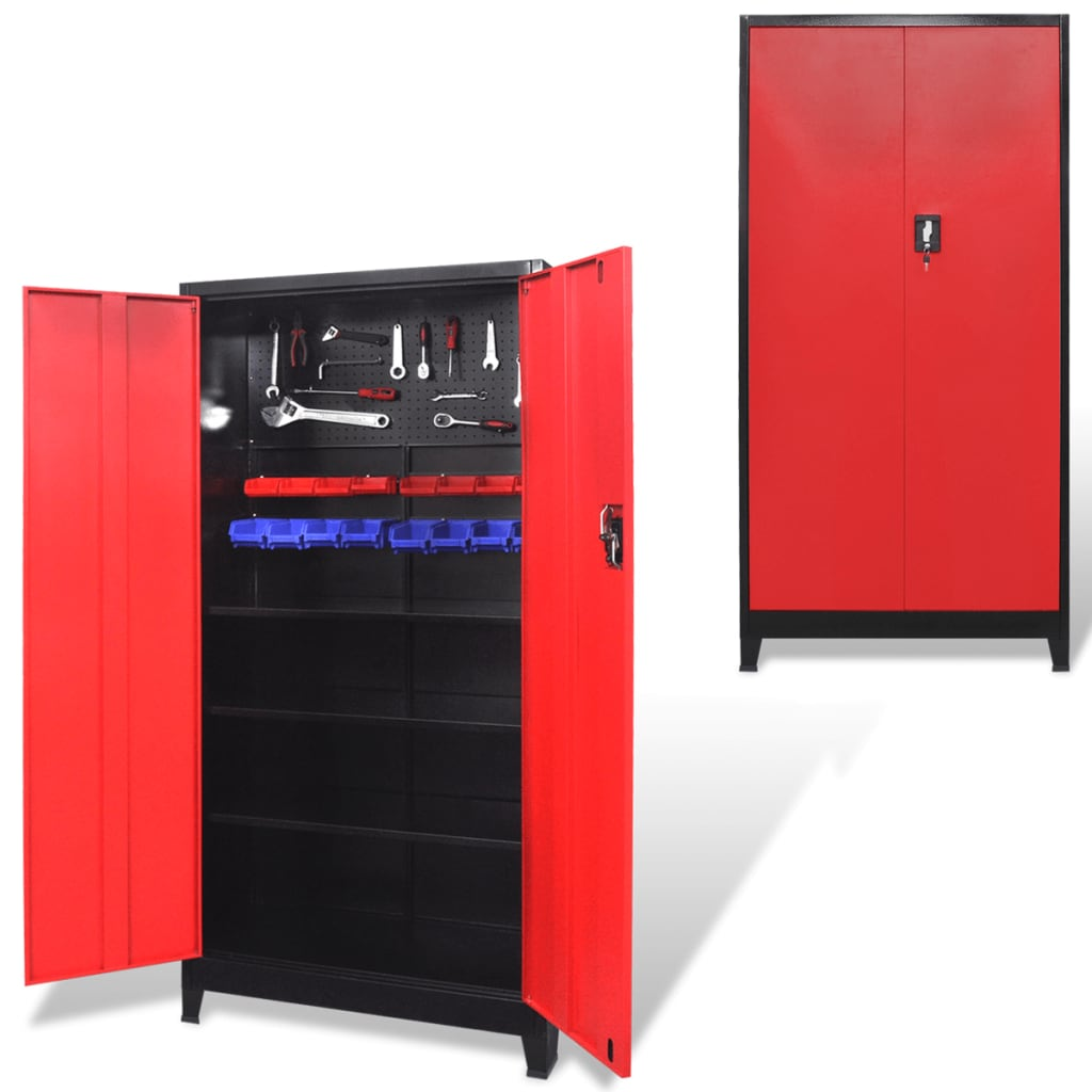 Image Is Loading VidaXL Tool Cabinet Steel Black And Red Tools