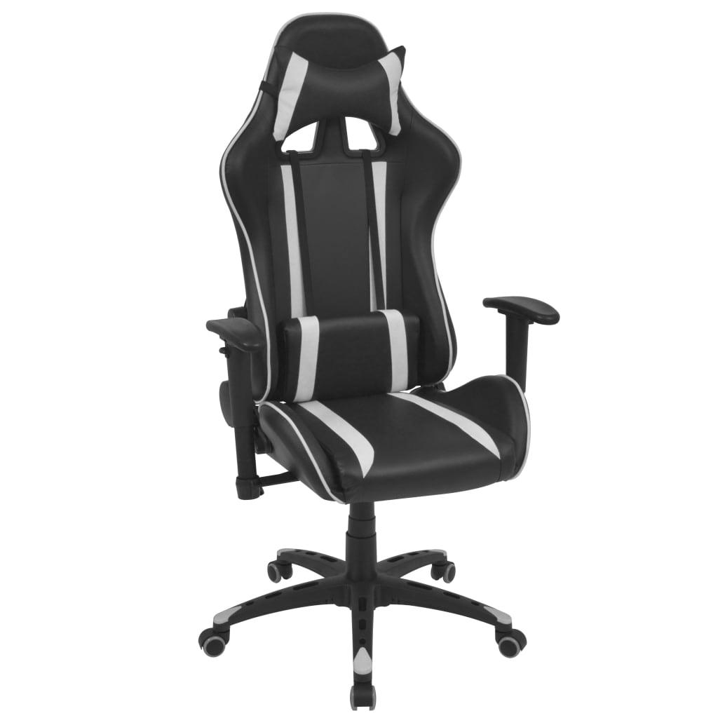 vidaXL fehér dönthető háttámlás versenyautó ülés alakú irodai szék