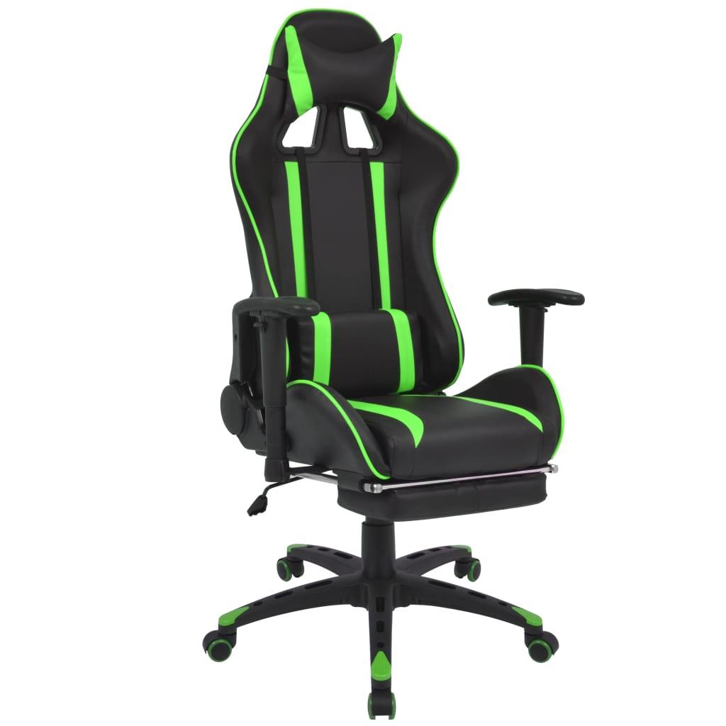 vidaXL zöld dönthető versenyautó ülés alakú irodai szék lábtartóval
