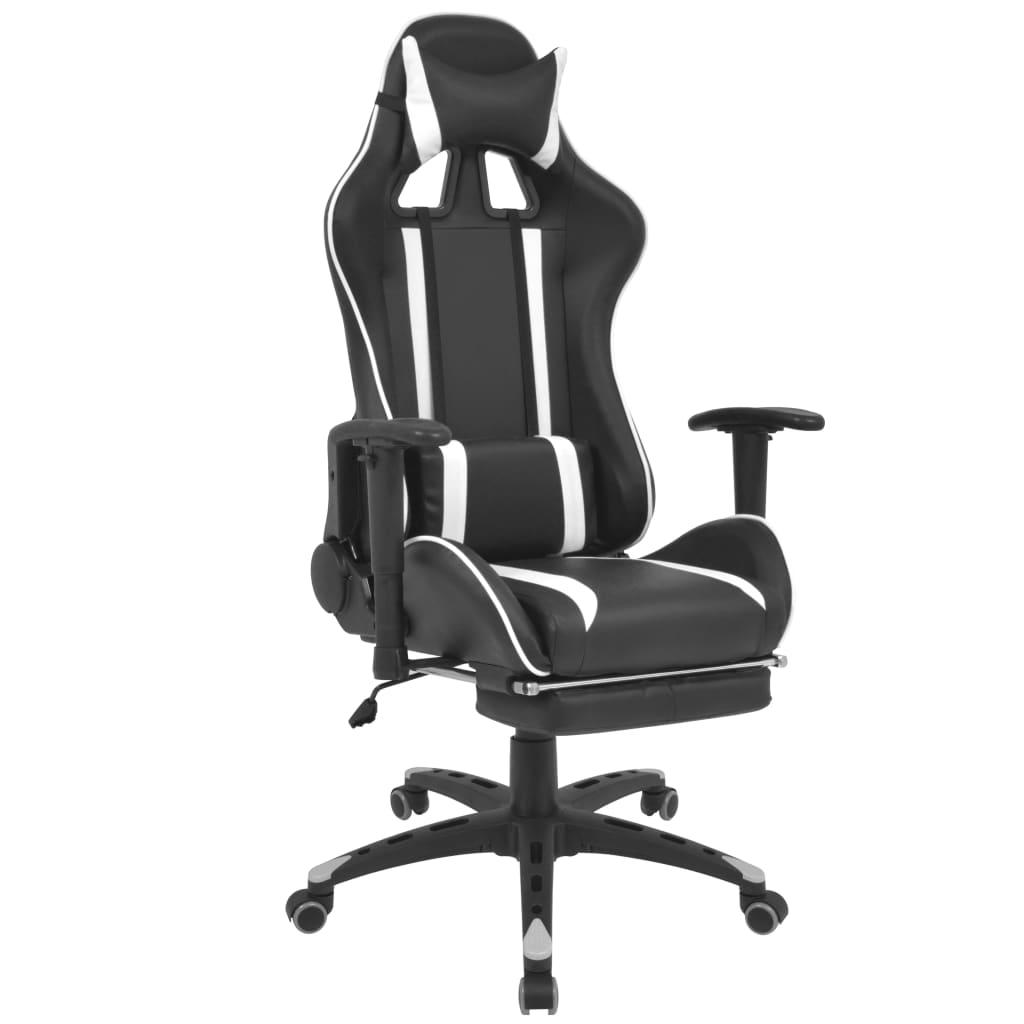 vidaXL fehér dönthető versenyautó ülés alakú irodai szék lábtartóval