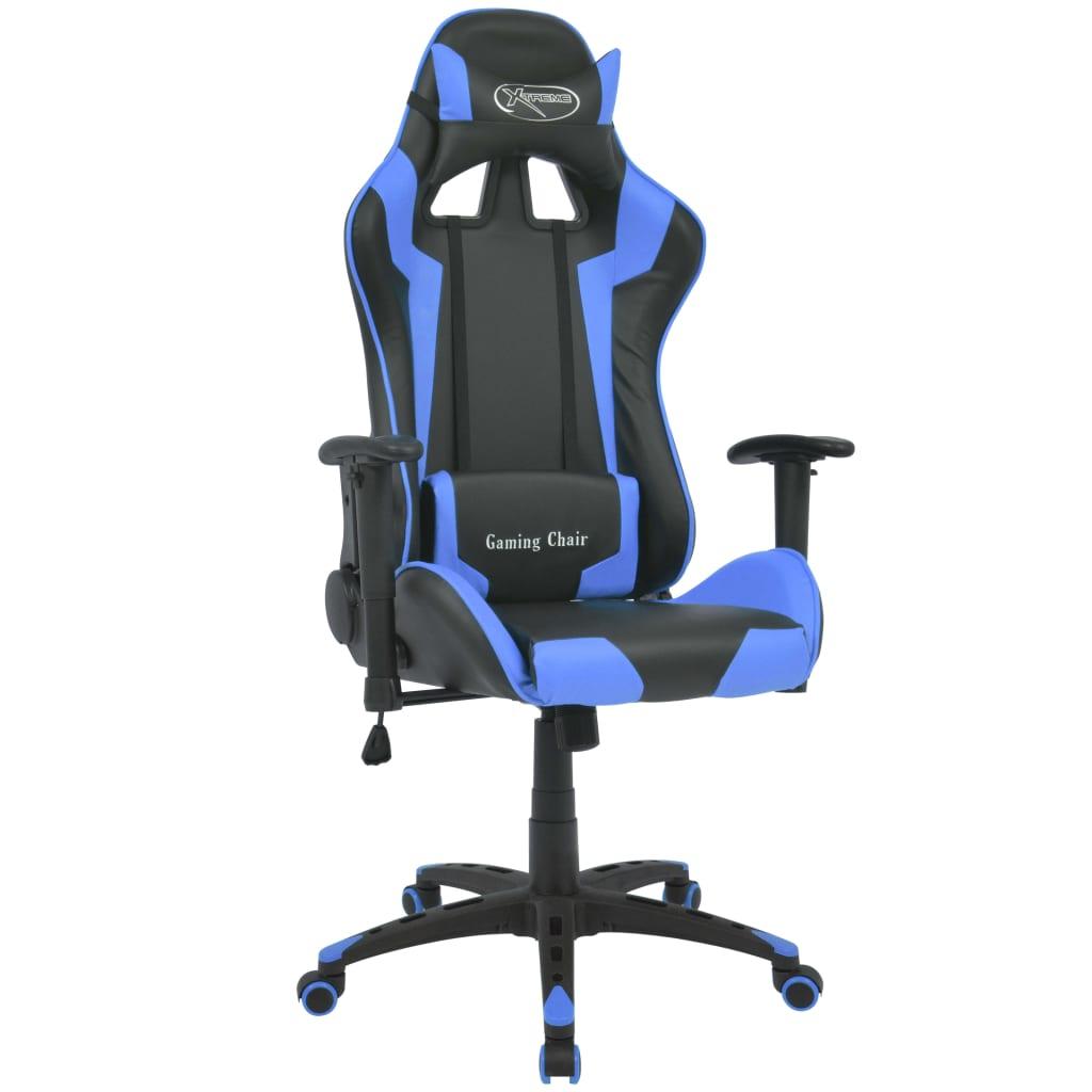 vidaXL kék dönthető versenyautó ülés alakú műbőr irodai szék