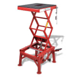 Red Motorcycle Lift 300 lb with Foot Pad, Locking Bar, Release Valve
