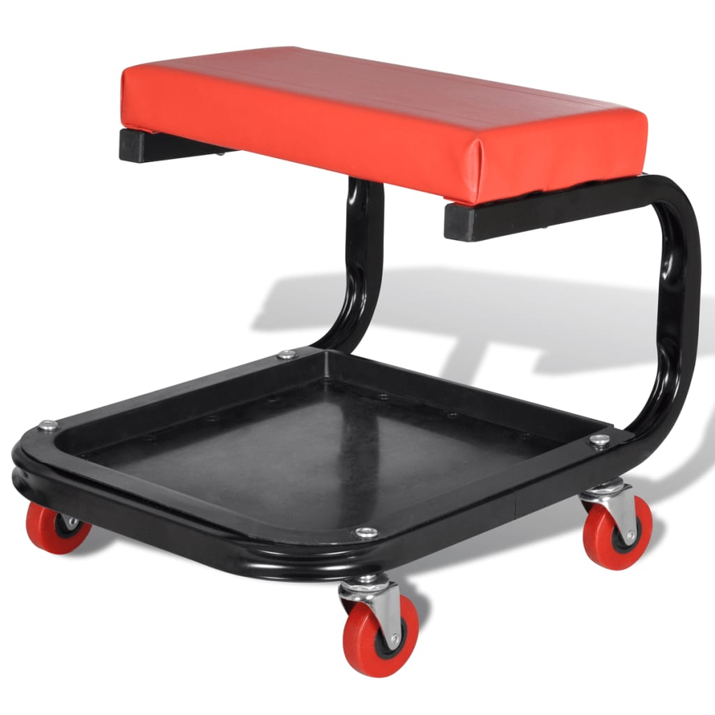 Mechanic Rolling Seat Stool Garage Shop Stool Square