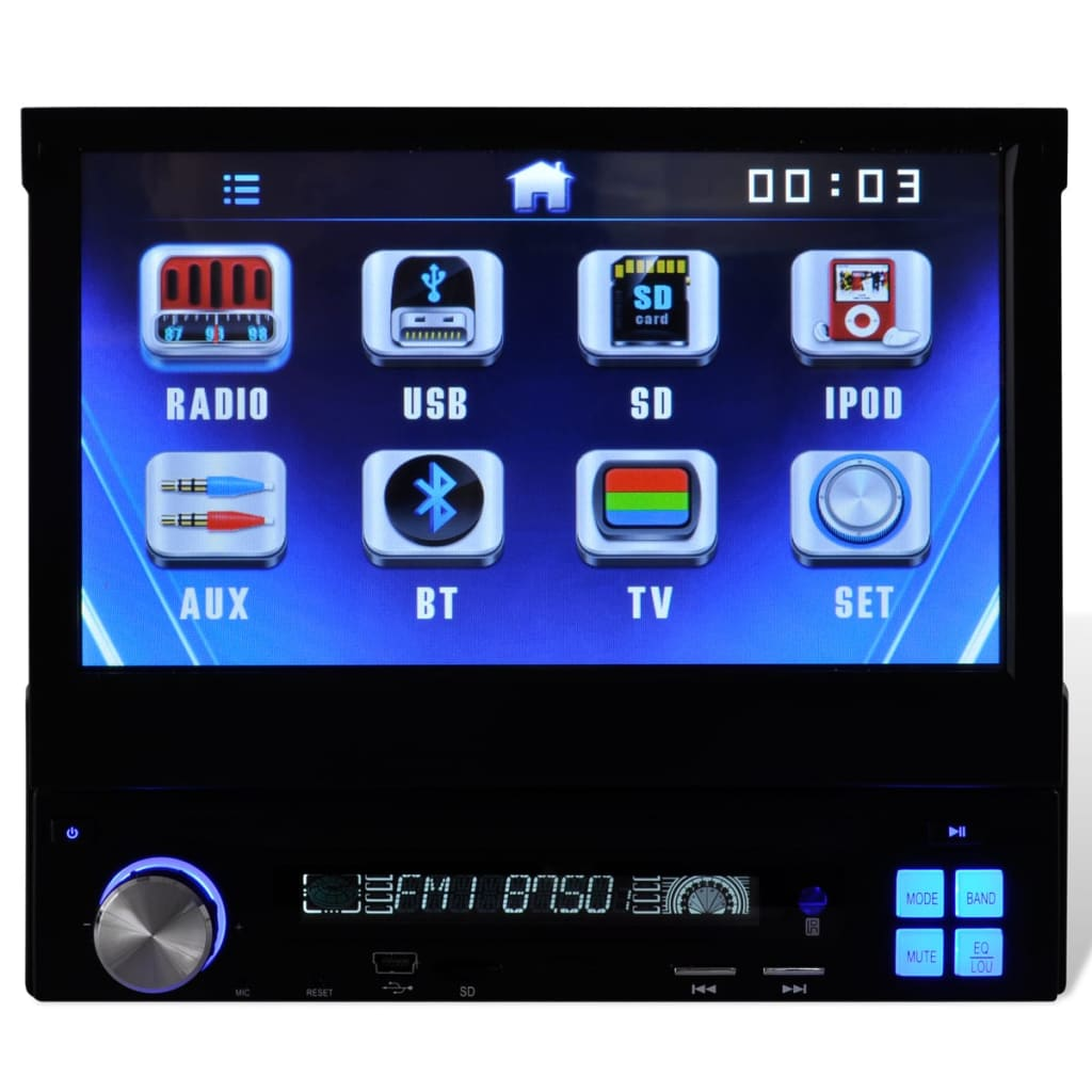 Us Stock1 Din Car Radio Size Stereo Fm And Mp3 Player: Car Stereo 1 DIN 7 Inch Touchscreen MP3