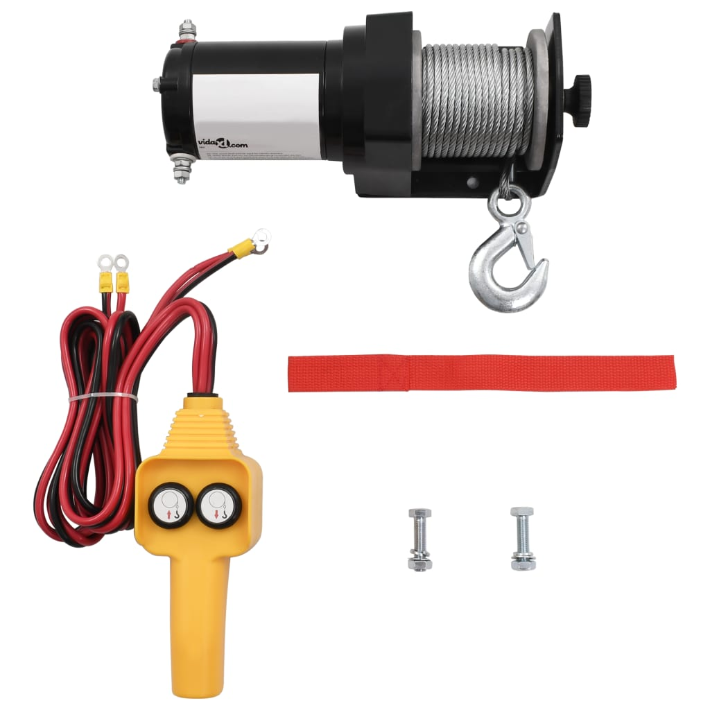 vidaXL 12 V Electric Winch 2000 lb Wire Remote Control