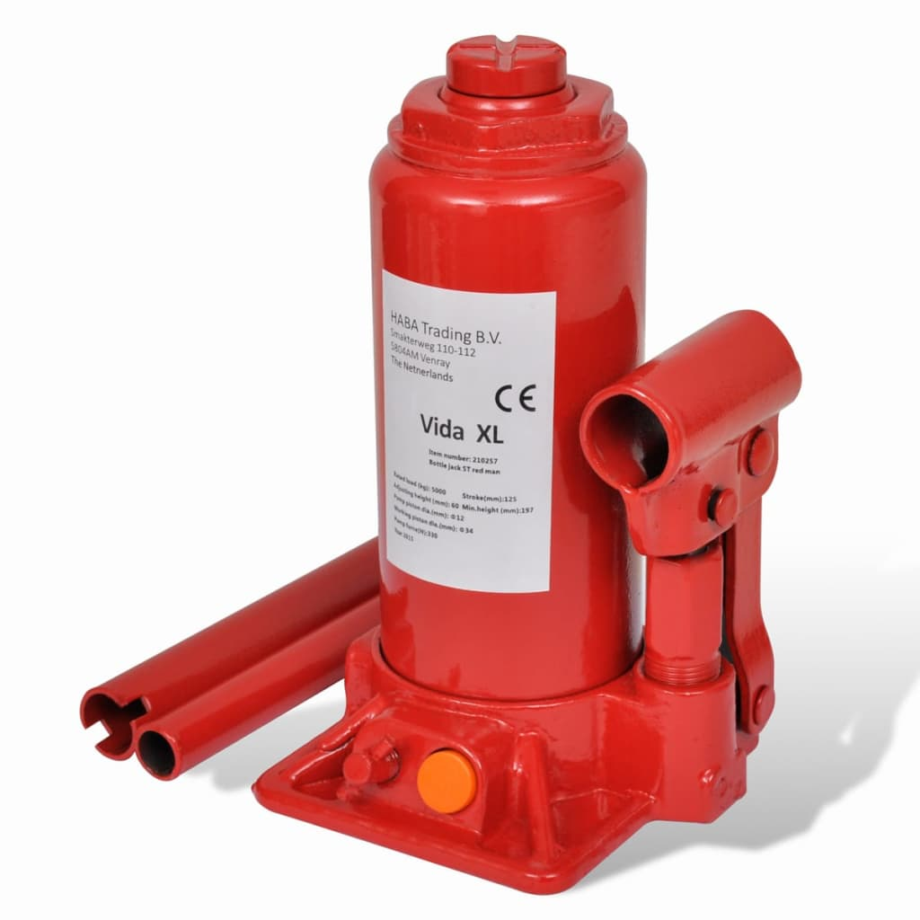 vidaXL 210257 Hydraulic Bottle Jack 5 Ton Red Car Lift Automotive