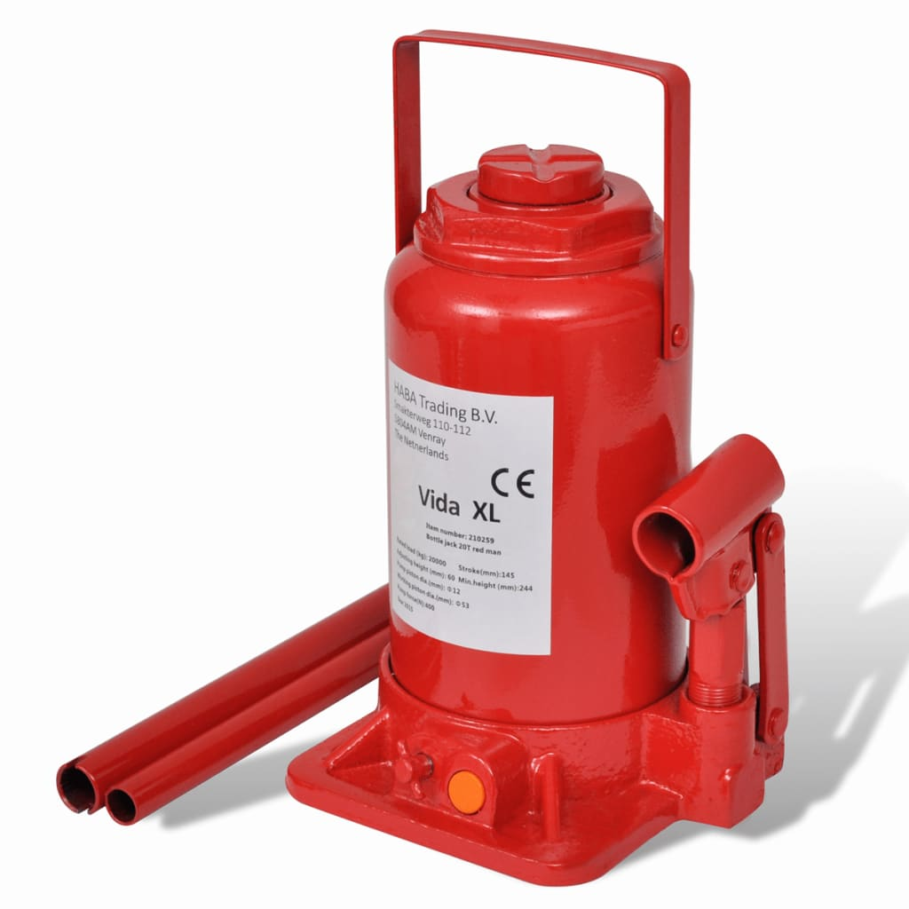 vidaXL 210259 Hydraulic Bottle Jack 20 Ton Red Car Lift Automotive