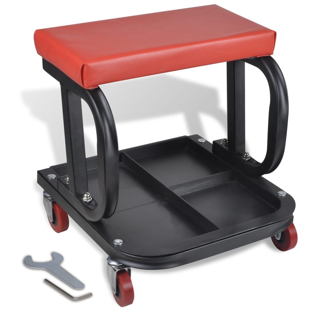 vidaXL Rolling Creeper Seat with Tool Tray