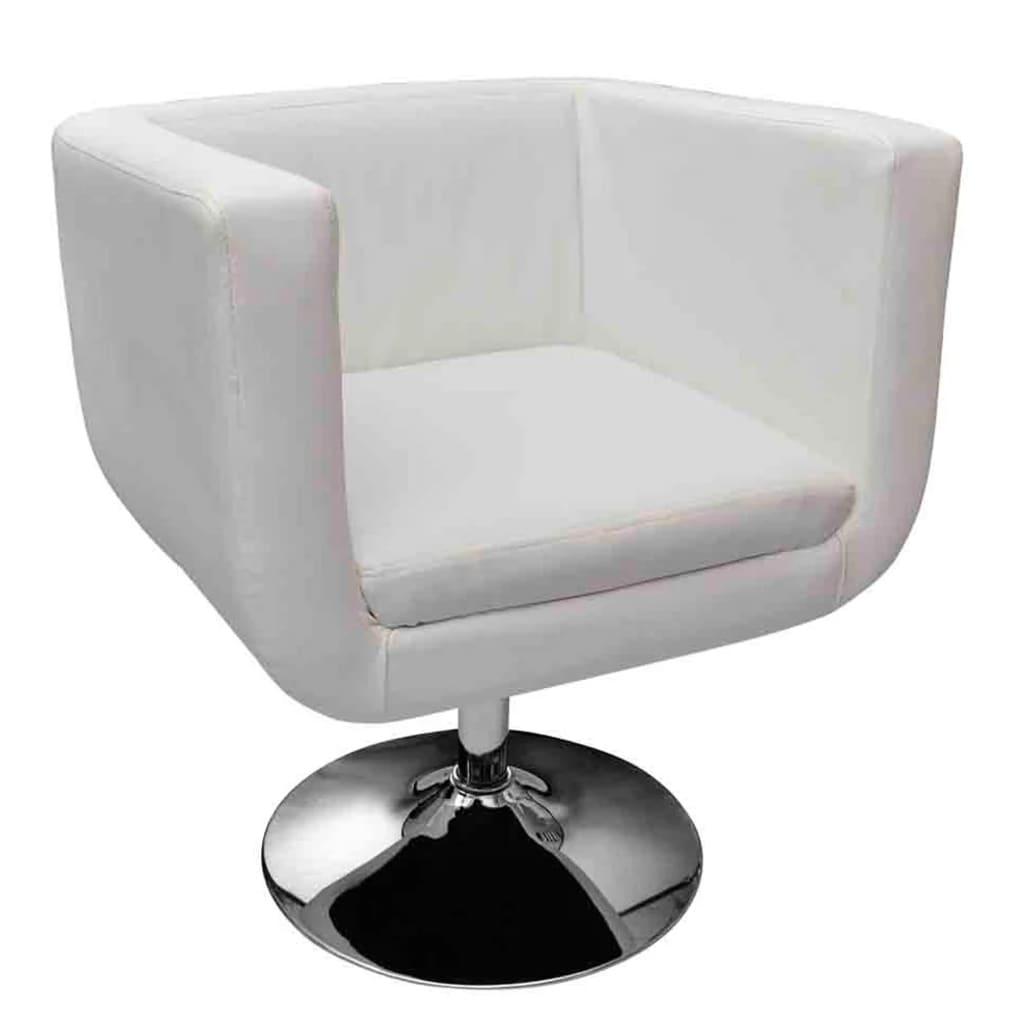 vidaXL Fotel barowy ze skóry syntetycznej, biały