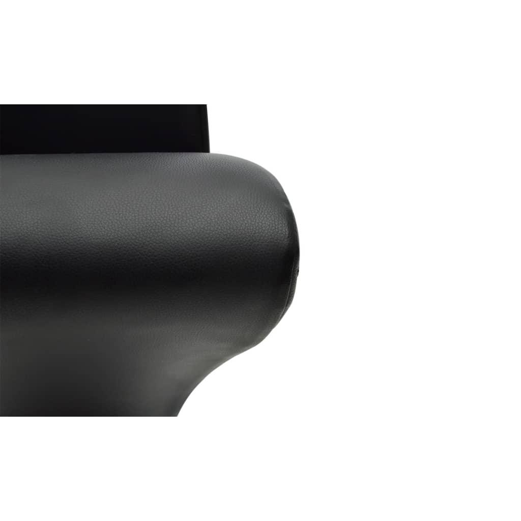 vidaXL-2x-Sillas-de-Salon-Comedor-Modernas-de-Cuero-Artifical-Negro-y-Metal