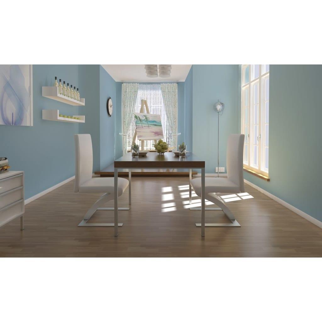 vidaXL 2x Sillas de Salon Comedor Modernas de Cuero Artifical Blanco ...