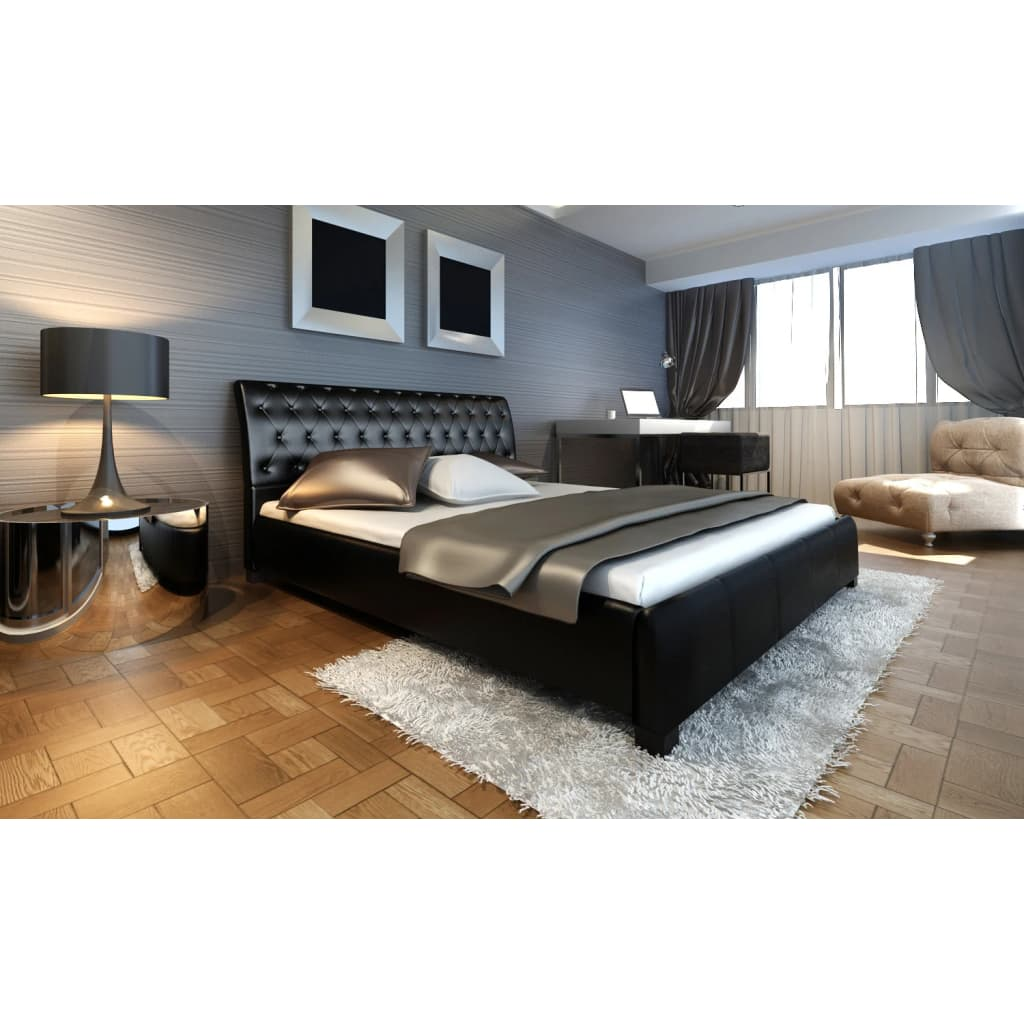 la boutique en ligne lit double en simili cuir noir capitonn 180 200cm. Black Bedroom Furniture Sets. Home Design Ideas
