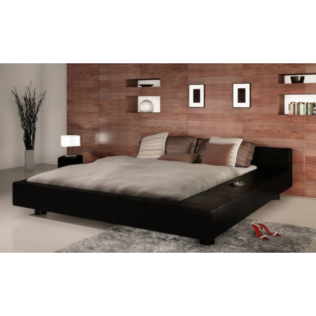 la boutique en ligne lit carr en simili cuir 2 personnes king size 180 x 200 cm. Black Bedroom Furniture Sets. Home Design Ideas