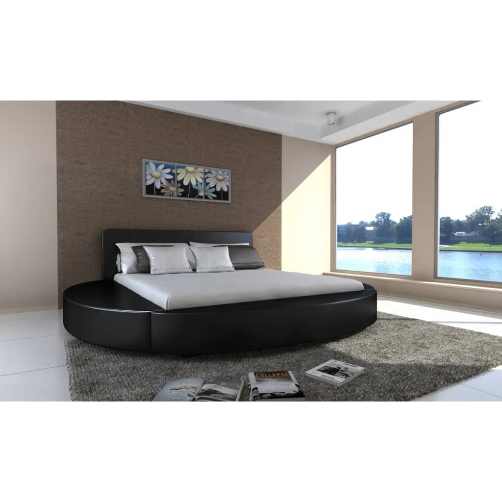 la boutique en ligne lit rond en simili cuir noir 180 x. Black Bedroom Furniture Sets. Home Design Ideas