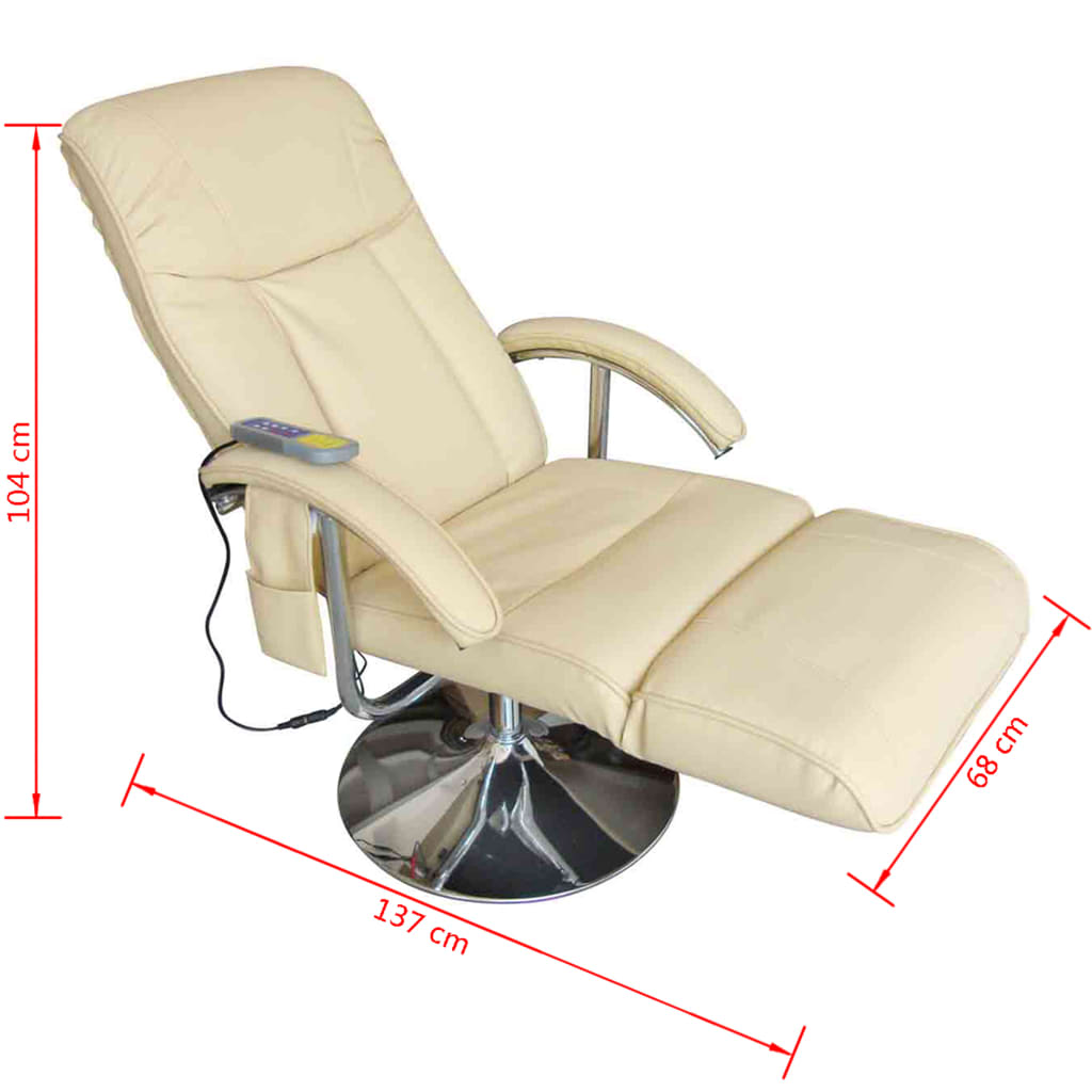 Electric TV Recliner Massage Chair Creme White