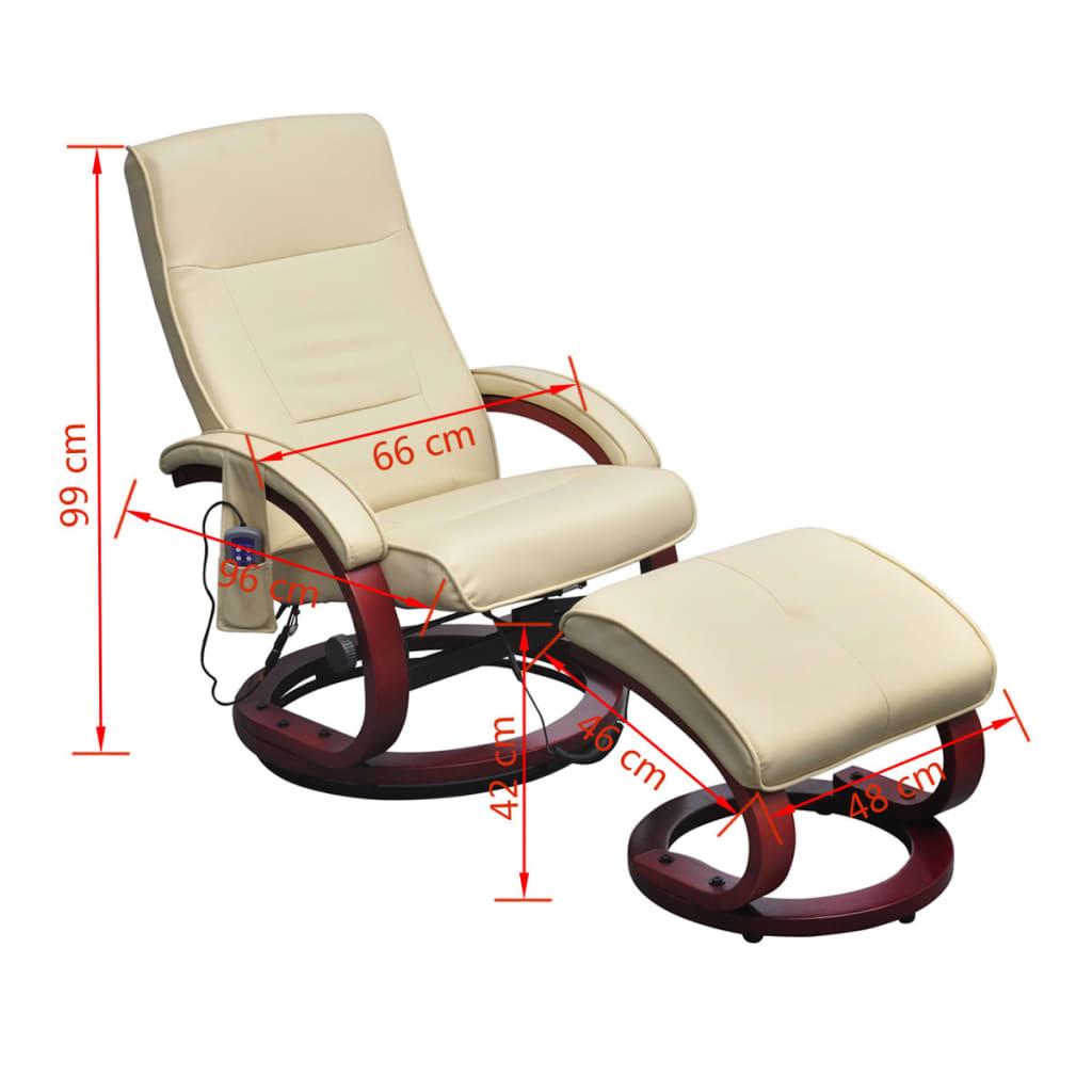 Sill n de masaje el ctrico reclinable color blanco crema y for Sillon reclinable blanco