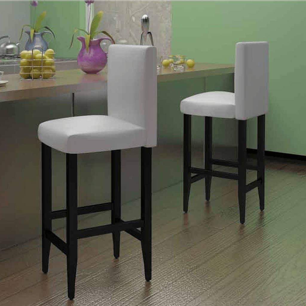 la boutique en ligne lot de 2 tabourets de bar en cuir artificiel moderne blanc. Black Bedroom Furniture Sets. Home Design Ideas