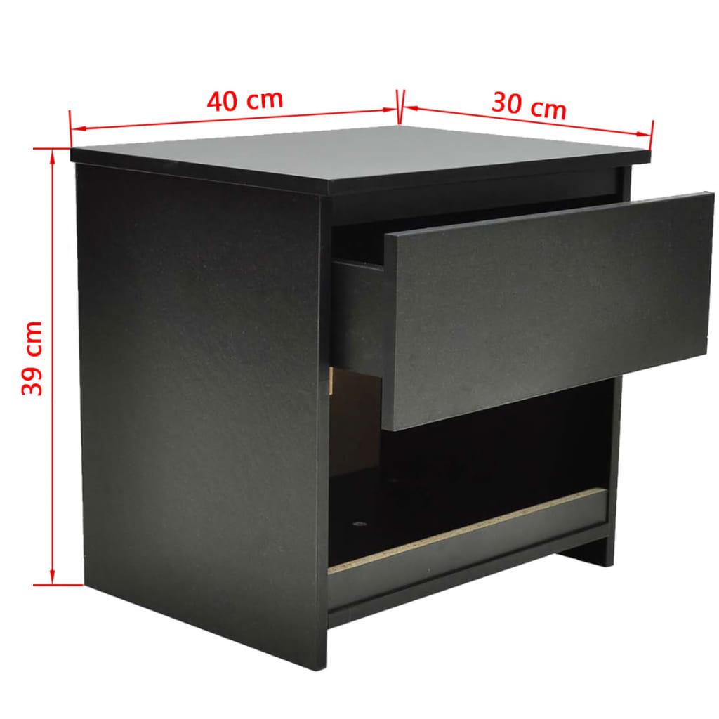 vidaXL-2x-Tables-de-Chevet-avec-1-Tiroir-Noir-Table-de-Nuit-Chambre-a-Coucher miniature 6