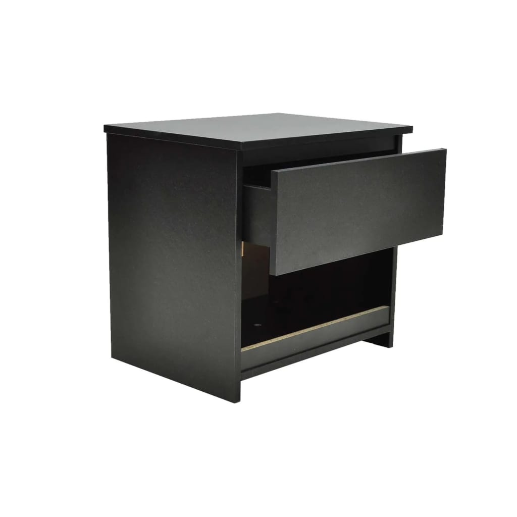 1 drawer bedside cabinet bedroom table black. Black Bedroom Furniture Sets. Home Design Ideas