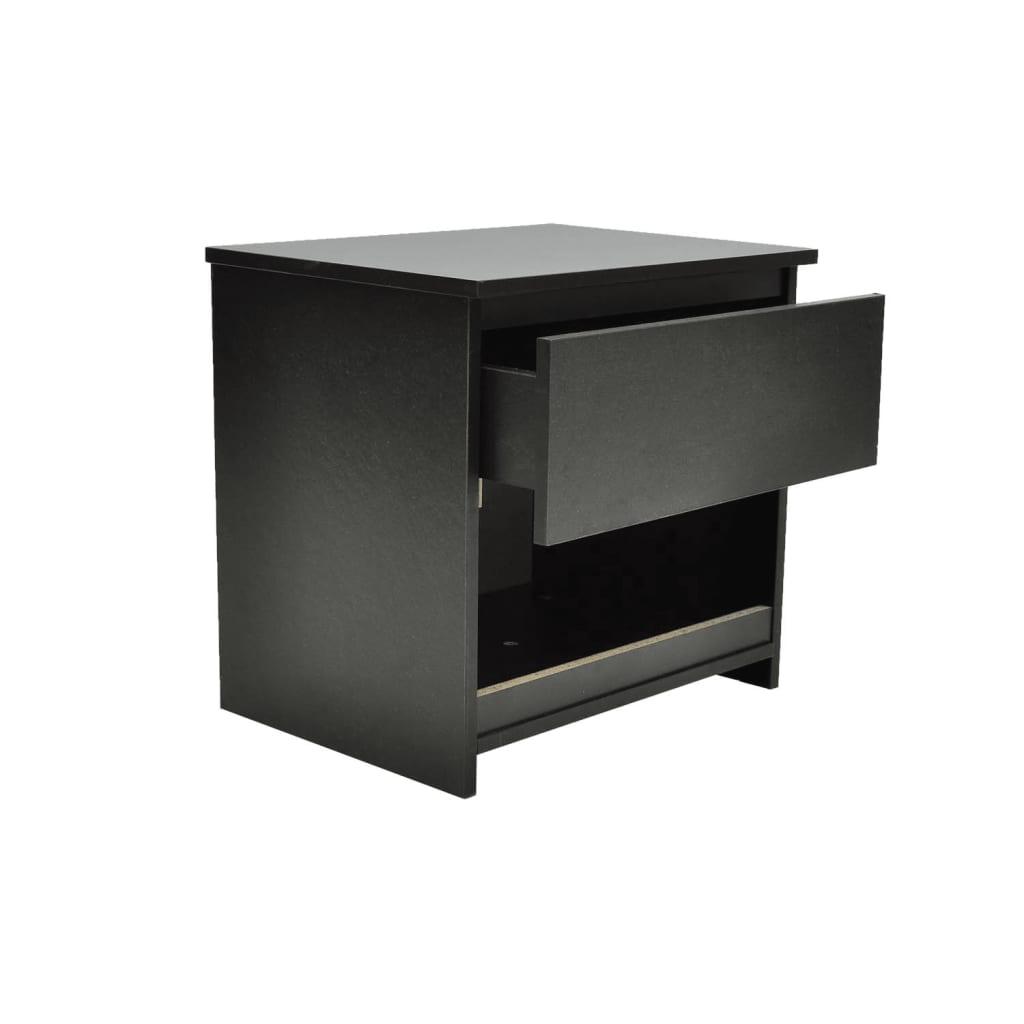 vidaXL-2x-Tables-de-Chevet-avec-1-Tiroir-Noir-Table-de-Nuit-Chambre-a-Coucher miniature 2