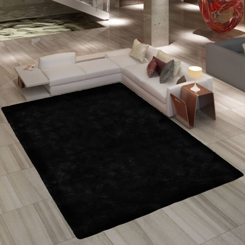 la boutique en ligne tapis poils long touffu noir 200 x. Black Bedroom Furniture Sets. Home Design Ideas