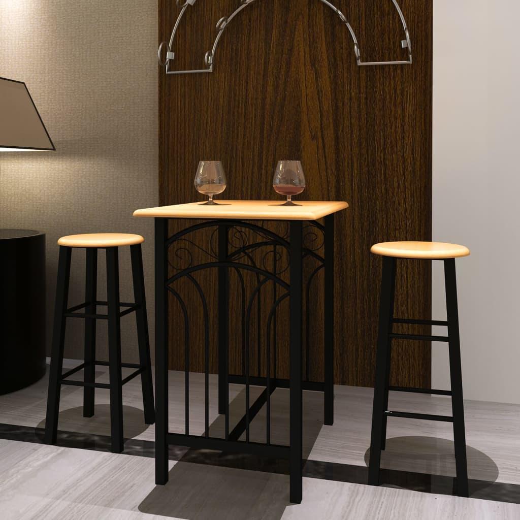 Barstolar 2-pack inklusive bord trä svart metall