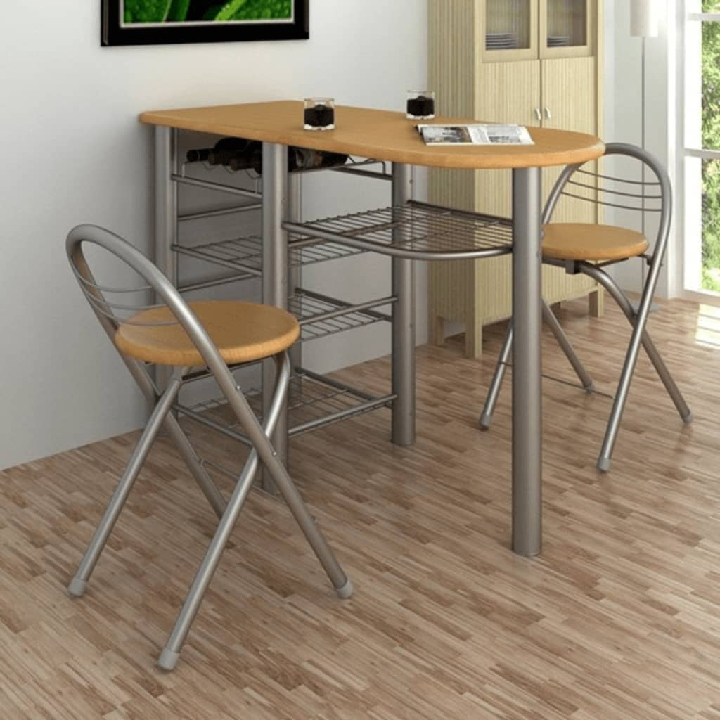 Small kitchen dining table and 2 chairs bar stools wine for Small dining table with storage