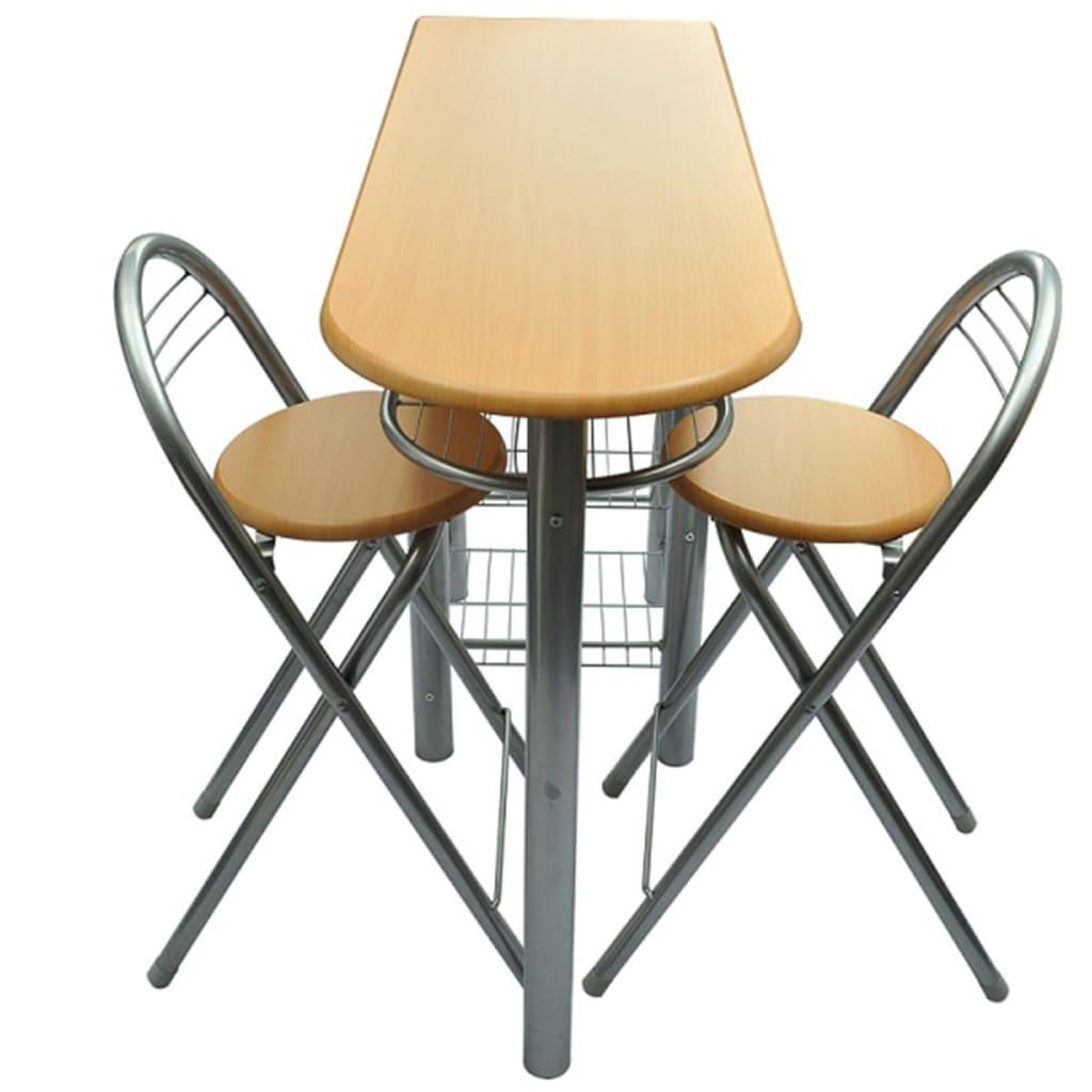 Conjunto de mesa alta de bar/cozinha com bancos em madeira com metal[3  #A77424 1024x1024
