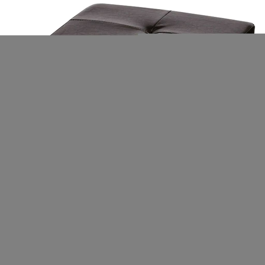 Brown Faux Leather Folding Storage Seat Bench Stool